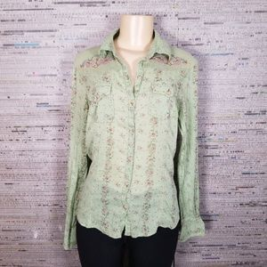 Large Green Floral Collared Button Up by FANG